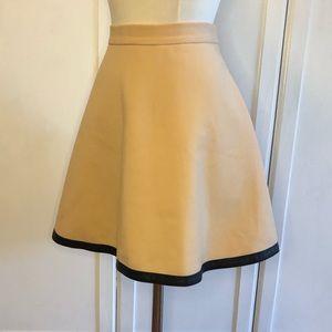 Club Monaco Wool Circle Skirt w/ faux leather trim